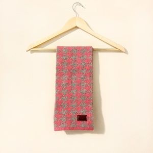 Coach Pink Gray Wool Cashmere Houndstooth Scarf